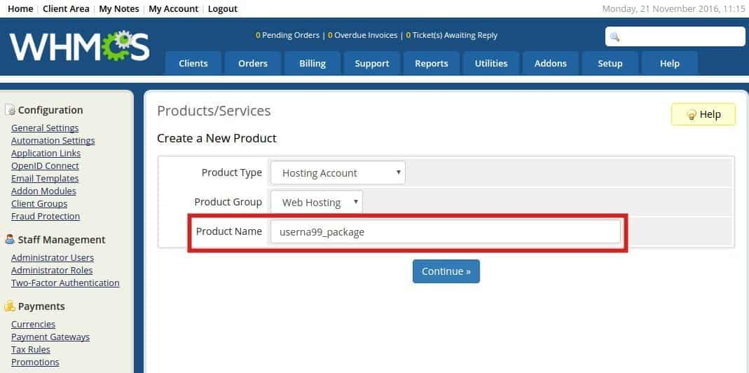 Adding Hosting Packages and Services in WHMCS