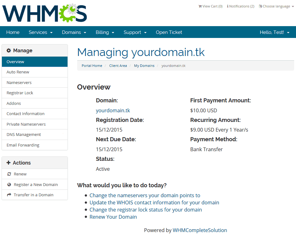 Domain Transfer in WHMCS