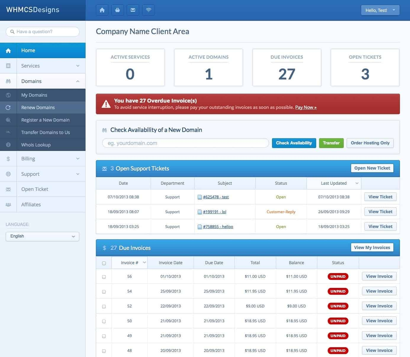 WHMCS Customer Dashboard