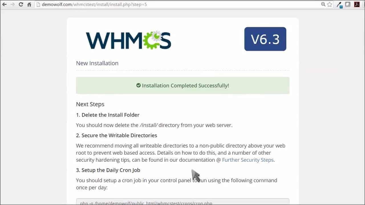 WHMCS Install