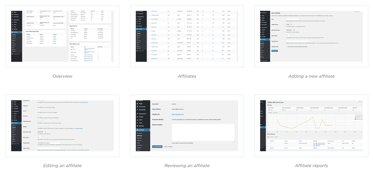 AffiliateWP plugin Admin screenshots
