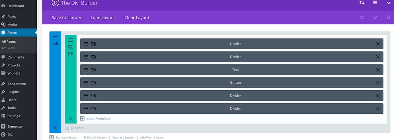 Duplicating section in Divi