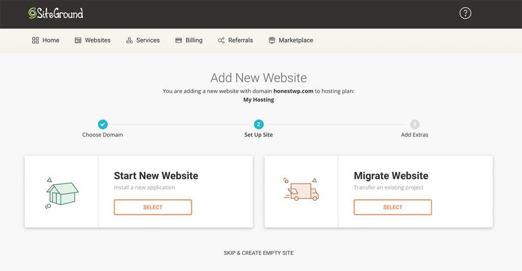 Créer un site Web avec Siteground
